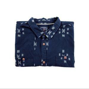 Springfield Men's XXL Navy IKAT Shirt Short Sleeve